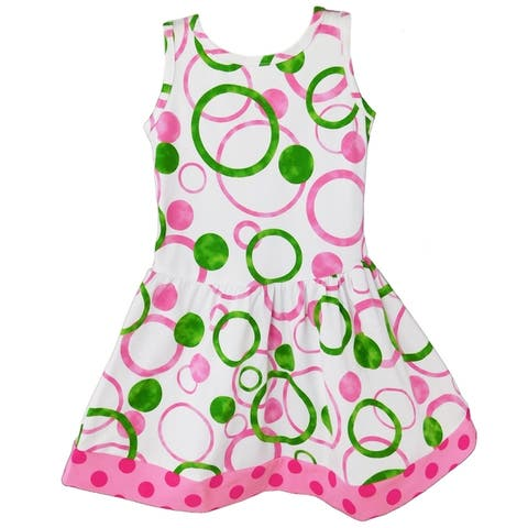 AnnLoren Big Girls Pink & Green Bubble Design Cotton Knit Swing Dress Holiday Boutique Easter Clothes