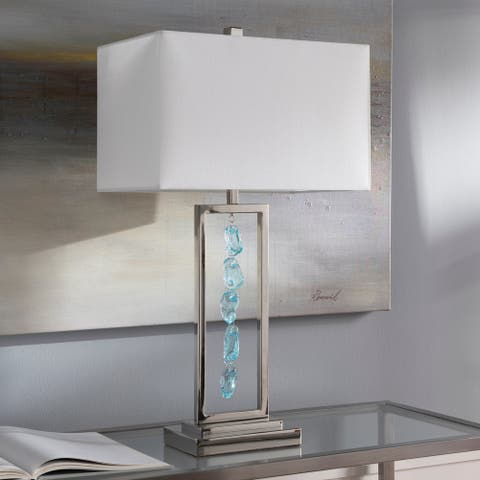 "Asbury Modern Glass Pebble 28-inch Table Lamp - 28""H x 16""W x 10""D"