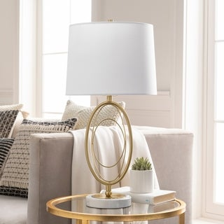 "Link to Chamizal Modern Gold Oval & Marble 26.5-inch Table Lamp - 26.5""H x 13""W x 13""D Similar Items in Table Lamps"