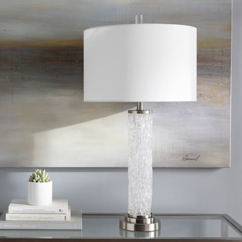 """Shively Textured Glass 31-inch Table Lamp - 31""""H x 16""""W x 16""""D"""