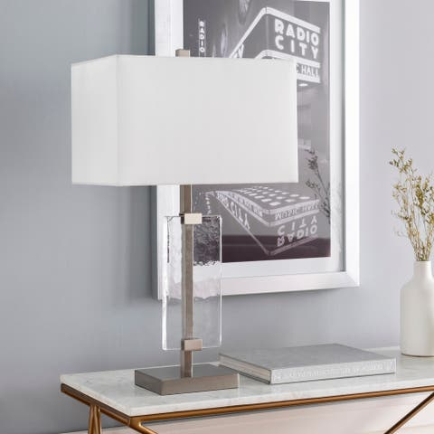 """Lolo Modern Frosted Glass 28.5-inch Table Lamp - 28.5""""H x 16""""W x 10""""D"""