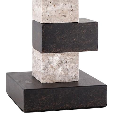 "Ecru Modern Marble Block 27-inch Table Lamp - 27""H x 16""W x 10""D"