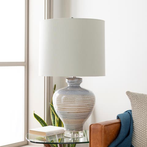 "Corfu Coastal Blue Striped 32-inch Table Lamp - 32""H x 17""W x 17""D"