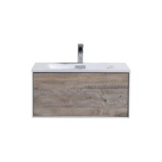 "Divario 30"" Nature Wood Wall Mount Modern Bathroom Vanity"