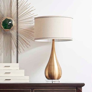 Copper Grove Feldkirchen 29.1-inch Teardrop Accent Lamp with Beige Drum Shade