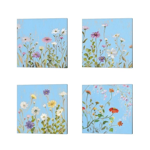 Sandra Iafrate 'Wild Flowers on Cerulean' Canvas Art (Set of 4)