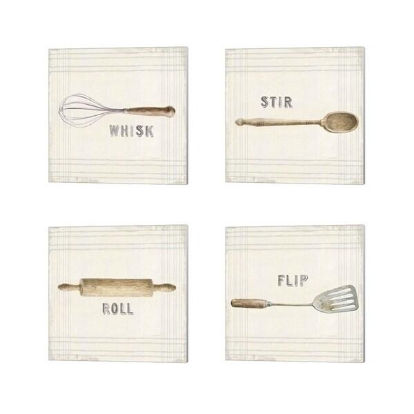 Danhui Nai 'Floursack Kitchen Sign Neutral Sq' Canvas Art (Set of 4)