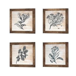 Front Porch Pickins 'Petals on Planks' Canvas Art (Set of 4)