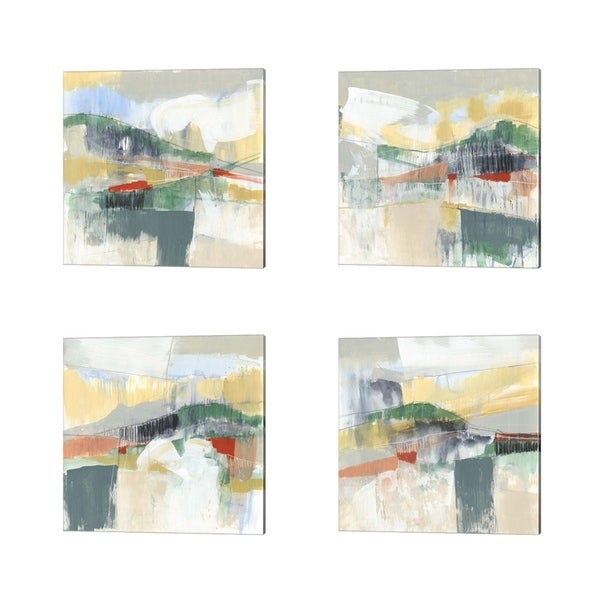 Jennifer Goldberger 'Abstracted Mountainscape' Canvas Art (Set of 4)