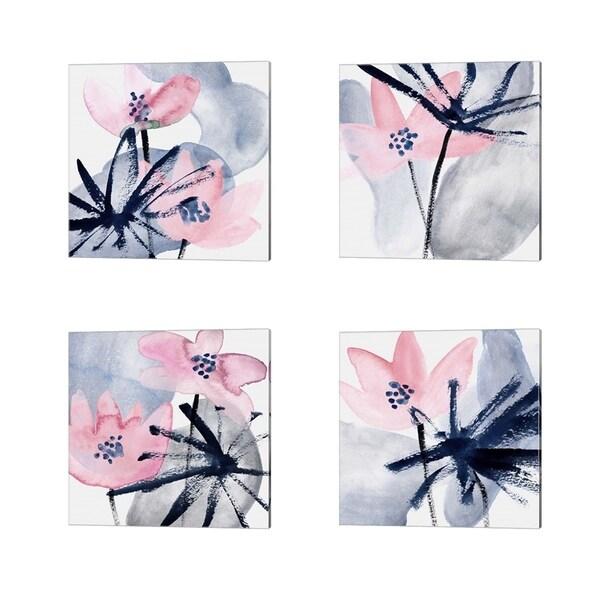 Melissa Wang 'Pink Water Lilies' Canvas Art (Set of 4)