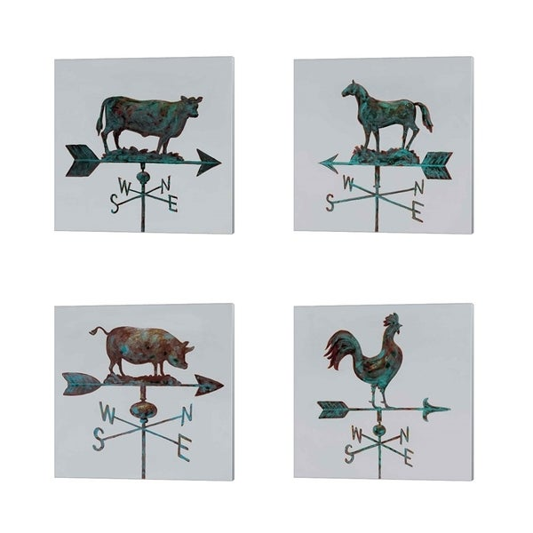 Arnie Fisk 'Rural Relic - Cow, Horse, Pig & Rooster' Canvas Art (Set of 4)