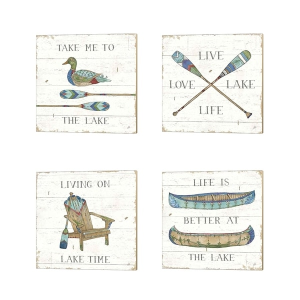 Daphne Brissonnet 'Lake Sketches Color' Canvas Art (Set of 4)
