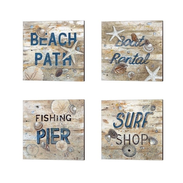 Arnie Fisk 'Beach Path, Boat Rental, Fishing Pier & Surf Shop' Canvas Art (Set of 4)