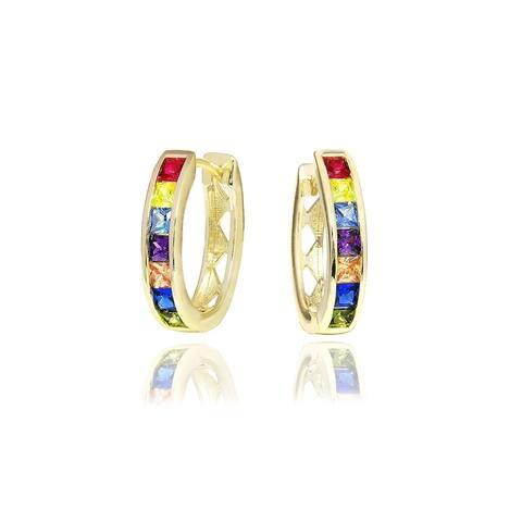 Multi Colored Oval Hoop Earrings