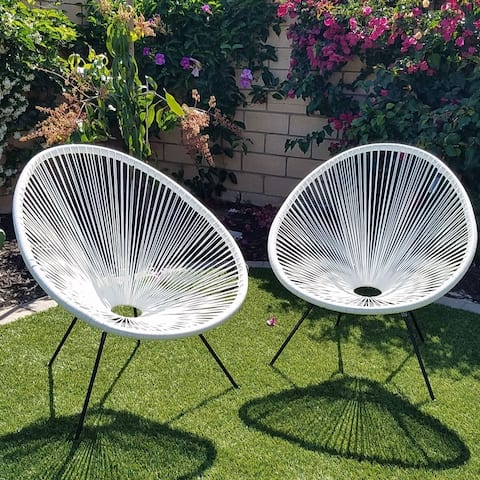 Tenir White Outdoor Patio Chairs (Set of 2) by Havenside Home