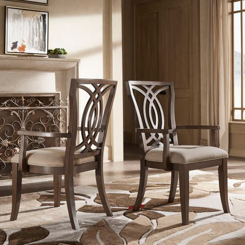 Sullivan Dark Walnut Finish and Beige Fabric Dining Chair (Set of 2) by iNSPIRE Q Classic