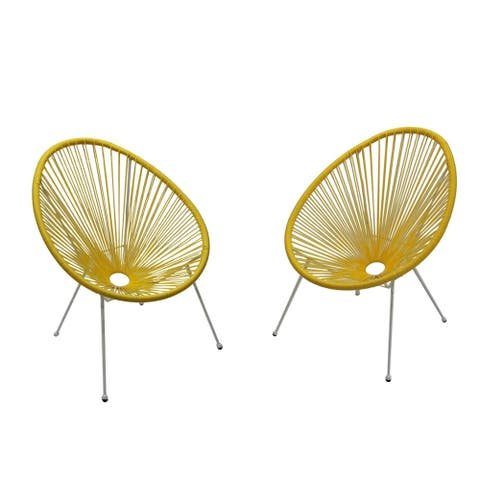 Tenir Light Yellow Outdoor Patio Chairs (Set of 2) by Havenside Home