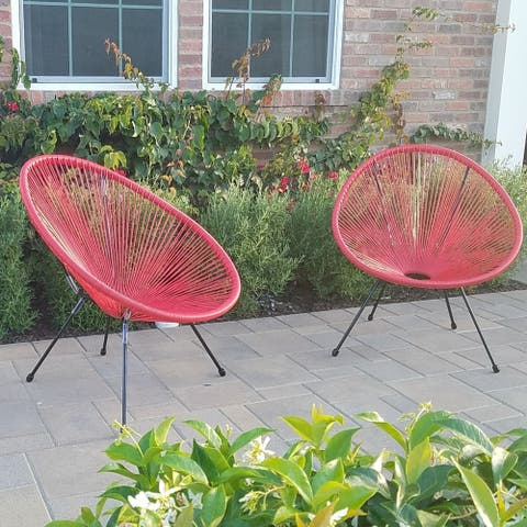 Tenir Red Outdoor Patio Chairs (Set of 2) by Havenside Home