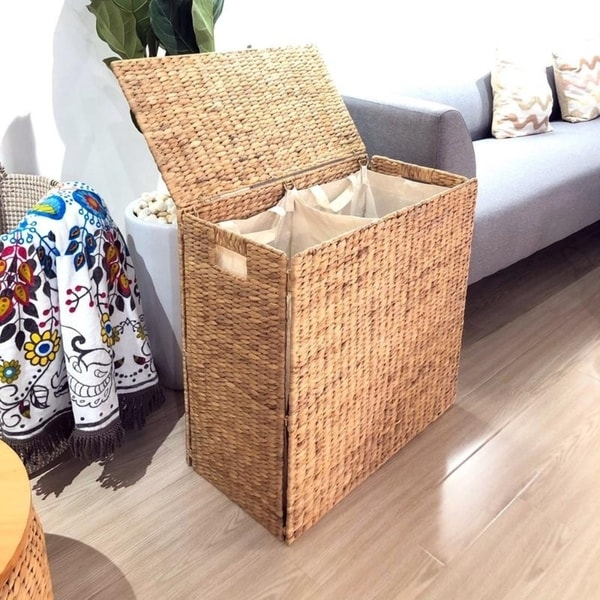 Brand New All Natural White Wicker Front Load Hamper