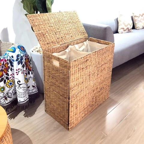 Double Sided Laundry Clothes Hamper Basket Wicker Seagrass with Lid