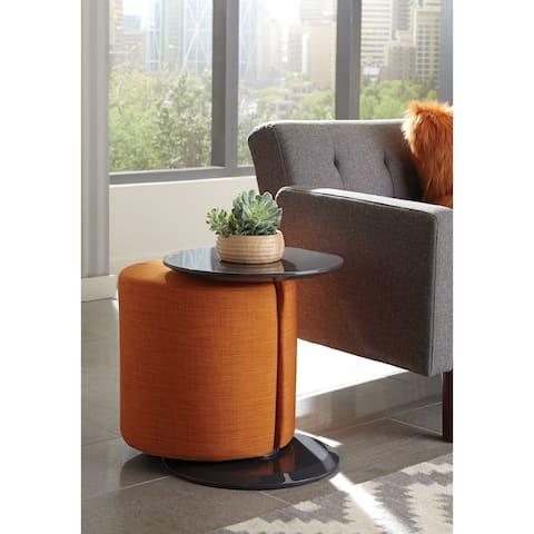 Porch & Den Springfield Pedestal Accent Table with Ottoman