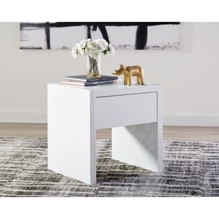 Glossy White 1-Drawer End Table