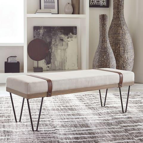 Strick & Bolton Britten Beige/ Black Upholstered Bench