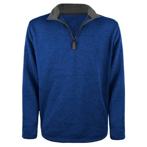 Victory Outfitters Men's Sherpa Collared Salt & Pepper 1/4 Zip Pullover Sweater