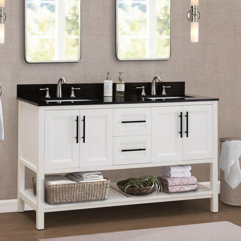Sunjoy White 60 in. Transitional Style Double Sink Bathroom Vanity