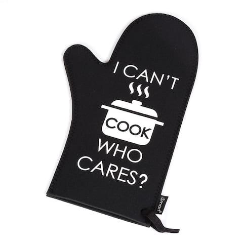 "Creative Home Black, Insulated Baking BBQ Neoprene Oven Mitt, Glove-I Can't Cook Print, 13-1/8"" L x 7-7/8"" W,"