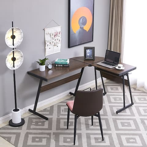 Reversible Brown Gaming Desk Corner Desk Modern L-Shaped Desk Computer Desk for Home Office