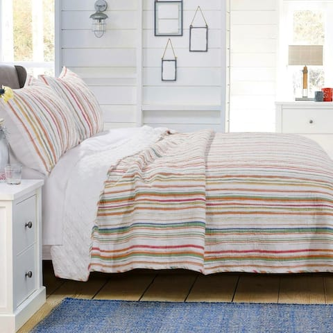 Full and Queen Size Cotton and Polyester Quilt Set with Striped Pattern, Multicolor, Set of Three