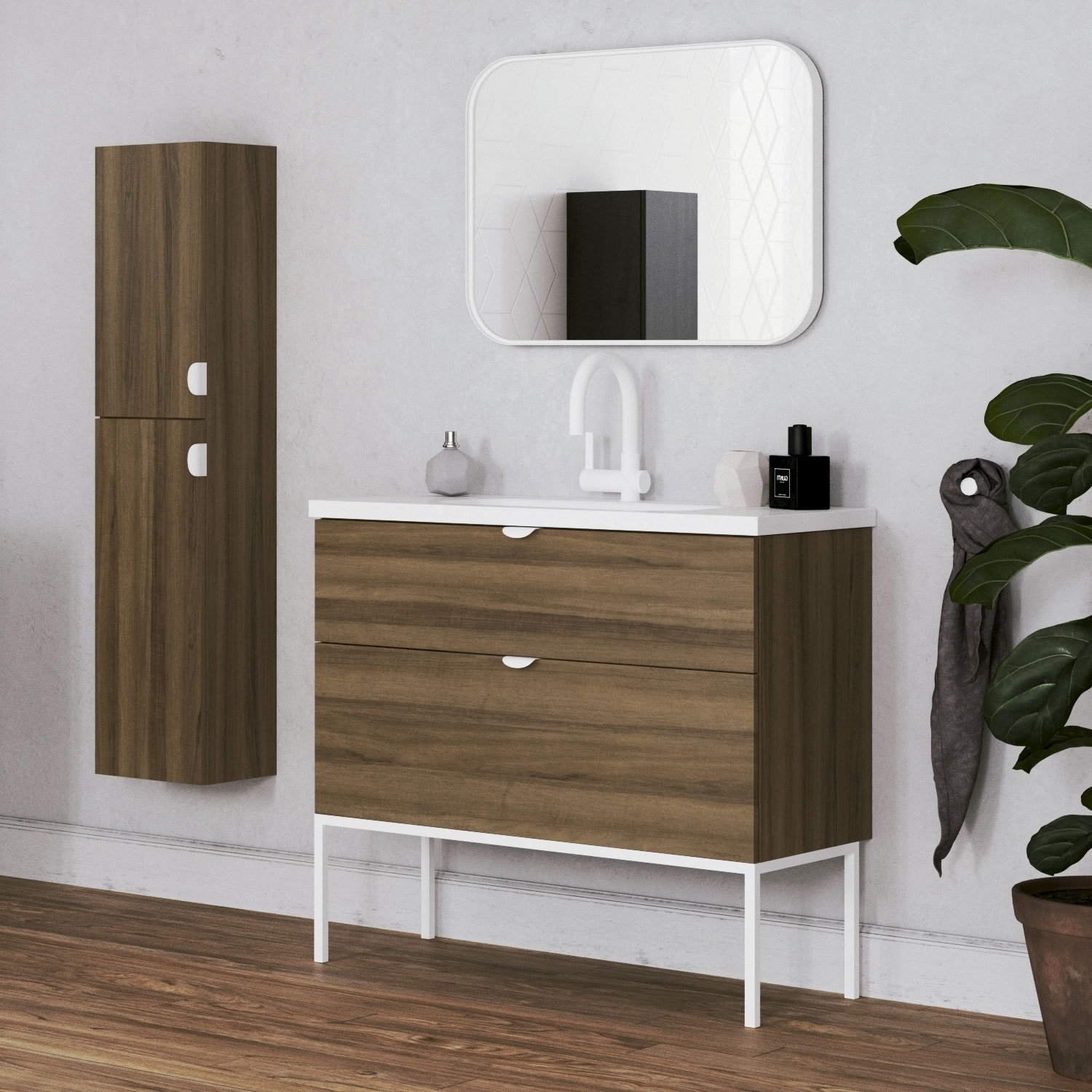 32 Modern Bathroom Vanity Smug Walnut Wood White Handle And Legs 32 X 33 X 18 Cabinet Sink On Sale Overstock 30600191