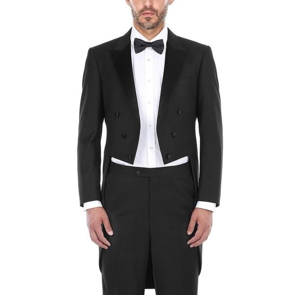 Mens Classic Fit 2-Piece Peak Lapel Tailcoat Tuxedo