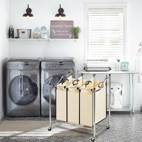 3-Bag Laundry Sorter Cart on Wheels Heavy-Duty Mobile Laundry Hamper