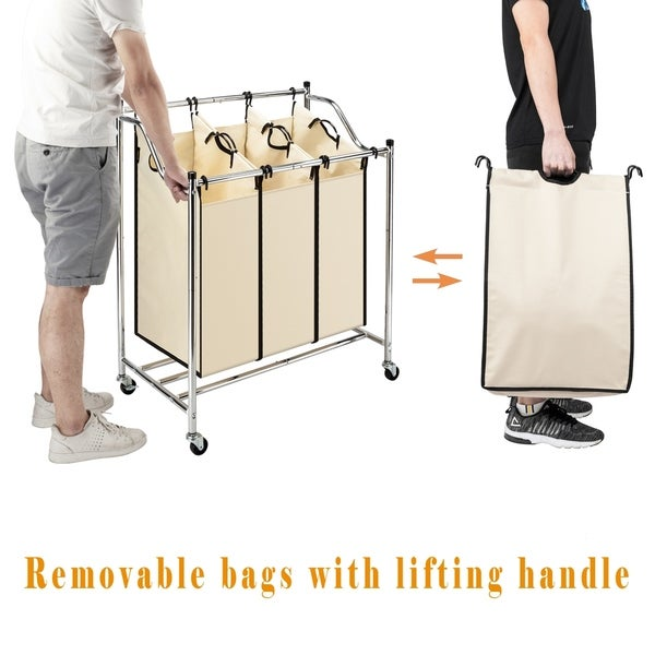 3-Bag Laundry Sorter Cart Wheels Heavy-Duty Mobile Laundry Hamper Removable Bag
