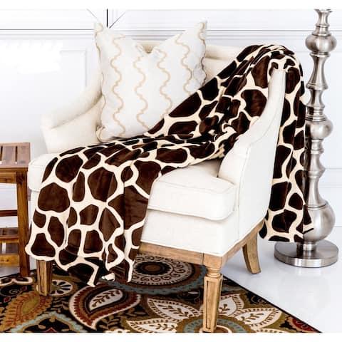 Super Soft Micro Plush Flannel Bed Giraffe Skin Print Blanket