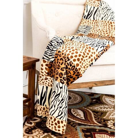 Super Soft Micro Plush Flannel Bed Safari Skin Print Blanket