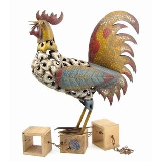 """Link to """"Summer"""" Painted Metal Rooster Figurine Similar Items in Outdoor Decor"""