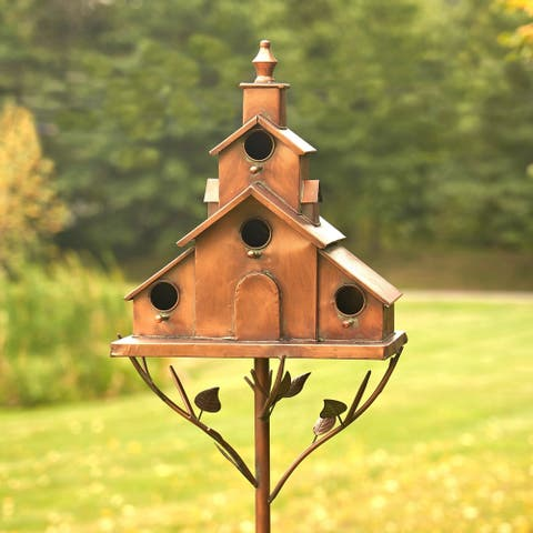 Church Design Iron Stake Birdhouse by Havenside Home