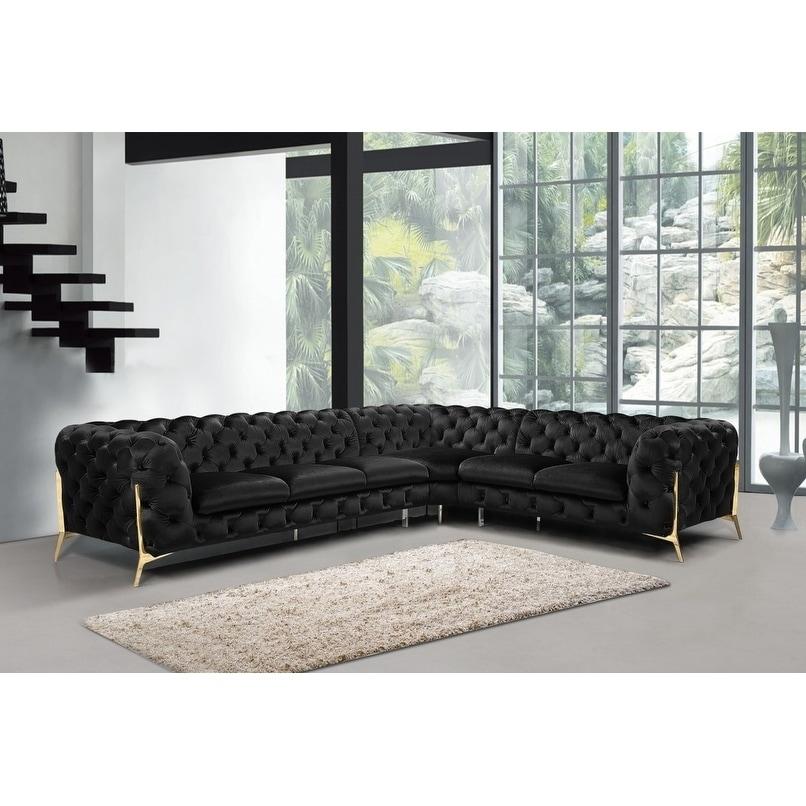 Divani Casa Sheila Modern Black Velvet Sectional Sofa