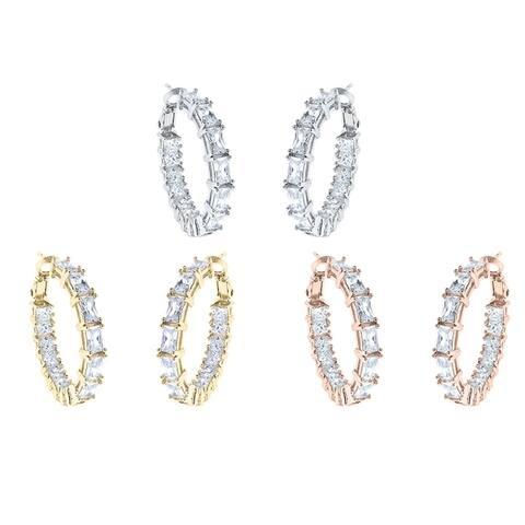 Emerald and Princess Hoop Earrings