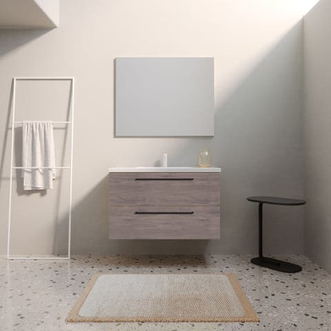 "32"" Modern Bathroom Vanity Dakota Set Chicago Oak Wood 32 x 24 x 18"" Cabinet + Sink"