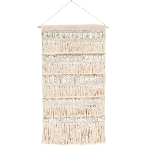 "Mirto Hand Woven Cotton 24 x 36 Farmhouse Wall Tapestry - 24"" x 36"""