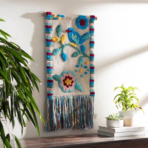 """Eulalie Hand Woven 16 x 26 Floral Wall Tapestry - 16"""" x 26"""""""
