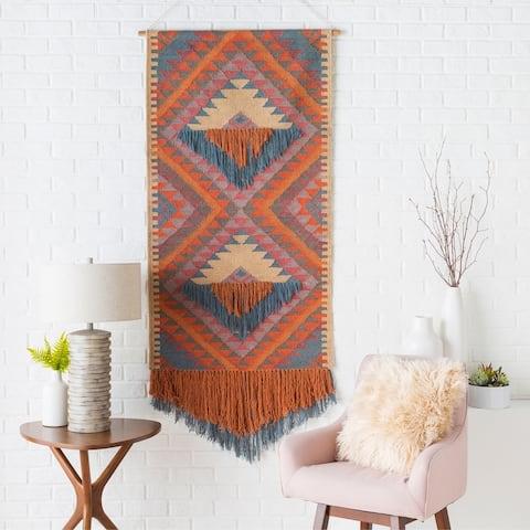 "Tian Hand Woven 30 x 60 Wool Southwestern Wall Tapestry - 30"" x 60"""
