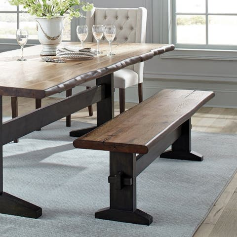 Carbon Loft Quince Natural Honey and Espresso Trestle Base Bench
