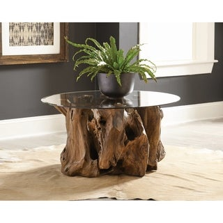 Natural Light Brown and Clear Solid Wooden Base Coffee Table