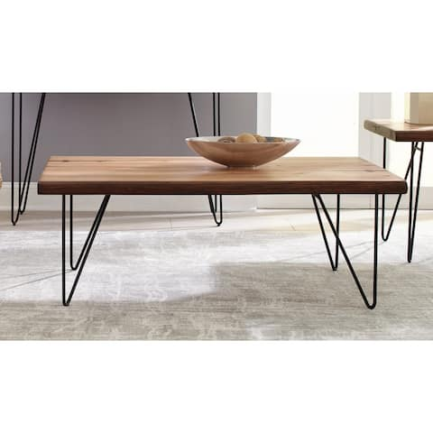 Carbon Loft Leicester Natural Honey and Black Rectangle Top Coffee Table