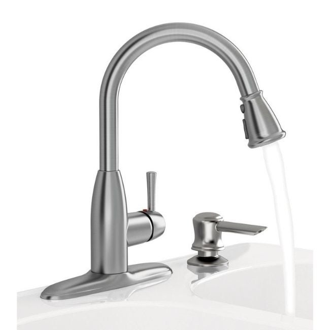 American Standard Mckenzie One Handle Stainless Steel Pull Out Kitchen Faucet Side Sprayer Included On Sale Overstock 30601531